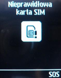 Nieprawidłowa karta SIM w telefonie