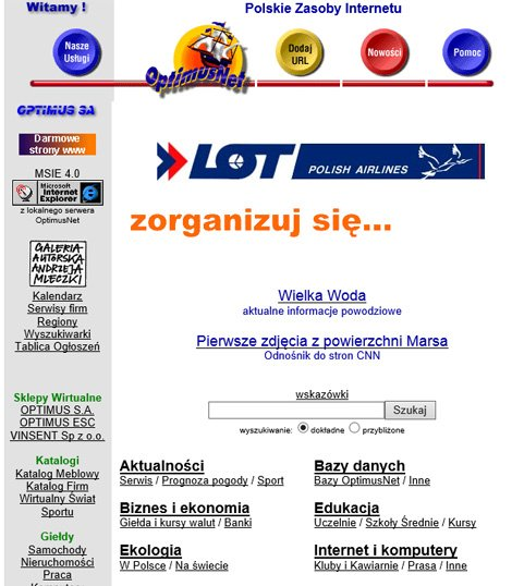 Onet.pl dawniej OptimusNet