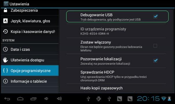 Debugowanie USB Android
