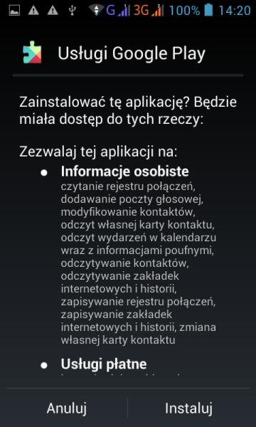Instalacja programu Android